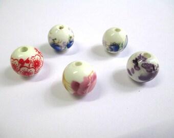 5 flowers 12mm (1) pattern white porcelain beads
