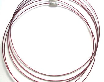 5 Maroon clasp steel wire necklace with screw