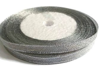 23 m 6mm Silver metallic organza Ribbon Spool in