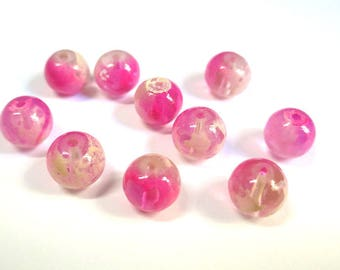 10 fuchsia and transparent white speckled 8mm beads