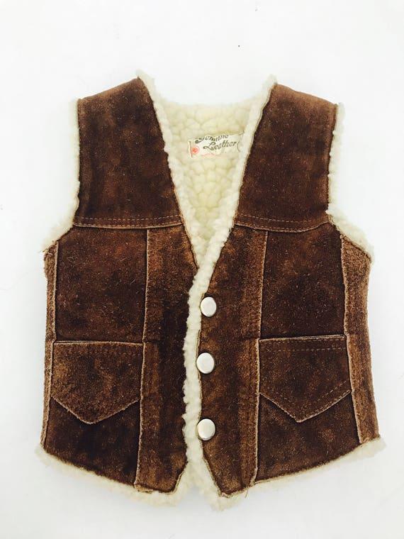 70s Suede & Sheepskin Vest 12 month old