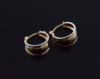 14k Milgrain 16mm Thick Hoop Circle Earrings Gold