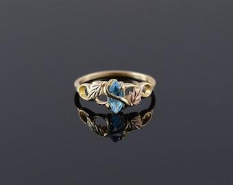 10k Blue Topaz Leaf Motif Black Hills Gold Ring Gold