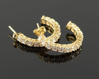 14k 3.00 CTW CZ Half Hoop Cuff Earrings Gold