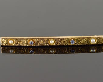 14k 2mm Seed Pearl Sapphire Engraved Victorian Bar Pin/Brooch Gold