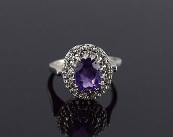 14k 1.90 CTW Amethyst Diamond Halo Ring Gold
