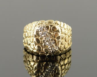 10k Genuine Diamond Accented Nugget Ring Gold