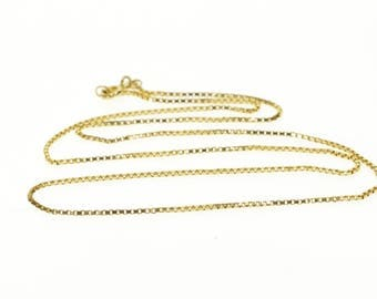 14k 1.1mm Box Link Chain Necklace Gold 18.5""