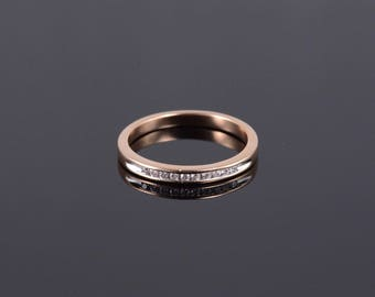 14k 0.10 Ctw Diamond Inset Channel Wedding Band Ring Gold