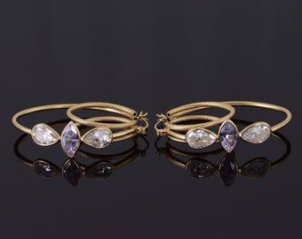 14k White Purple CZ Tiered Rope Textured Hoop Earrings Gold