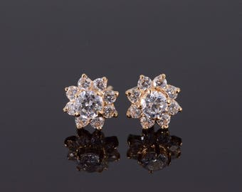14k Cubic Zirconia Flower Floral Stud Earrings Gold