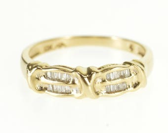 10k Baguette Diamond Tiered Channel Inset Band Ring Gold