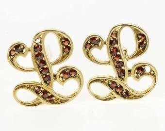 14k Garnet Encrusted L Letter Initial Lucien Piccard Pin/Brooch Gold
