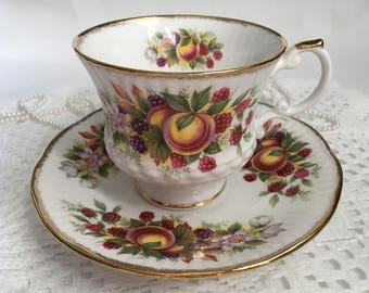 Elizabethan Fine Bone China Tea Cup and Saucer, Summer Fruit, Gold Trim
