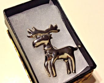 Vintage Pin, Silver Moose Brooch, High Polish, Charming Disposition, Gift for Women, Gift for Men