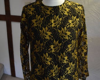 Vintage Crealine black and gold lace top, 1980s