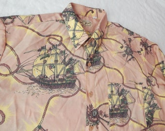 Ships Long Sleeve Button Down Shirt - XL Mens Brown Hippie Lounge Polyester Nautical Rope