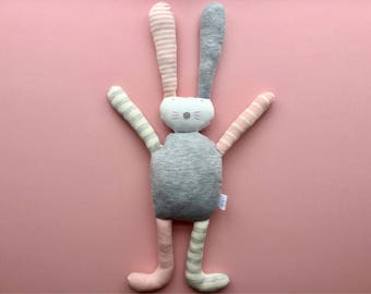 Personalised flopsy bunny rabbit soft cuddly toy teddy plushie handmade baby girl newborn gift 1st birthday pink green grey ivory stripe