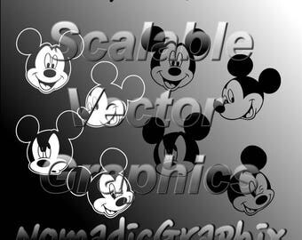 16 Mickey Mouse Heads  - Vector Cut Files - SVG / DXF / EPS