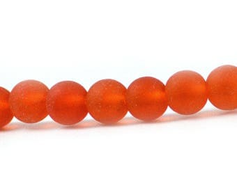 Recycled Cultured Sea Glass Round Beads Bright Orange Tangerine Matte 6mm