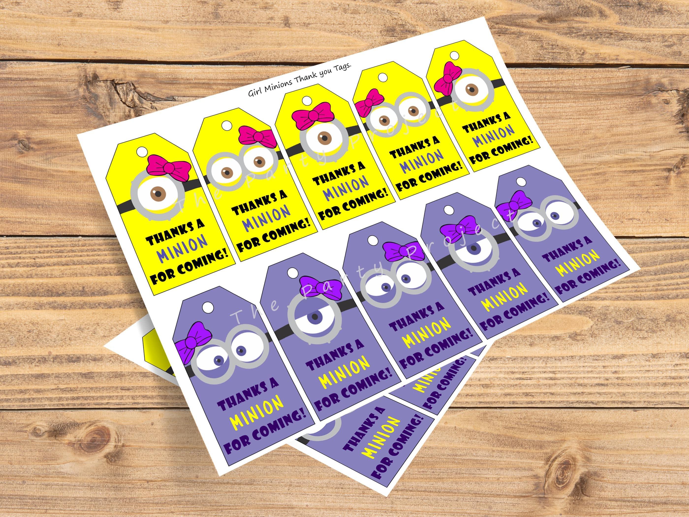 DIY PRINTABLE Girl Minions thank you tags Minion goody bag