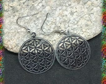 Flower of life earrings engraved stainless steel