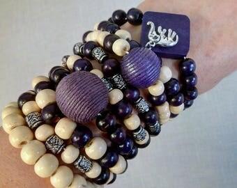Wood Bead Bracelet Set of 9 Wood Bracelet Beaded Bracelet Wooden Bracelet Wooden Bead Bracelet Wood Beaded Bracelet Boho Bracelet Elephant