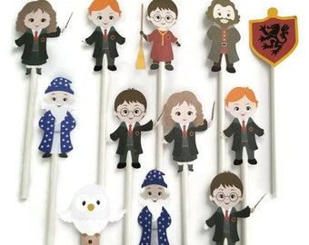 Harry Potter cupcake toppers - set of 12, cake toppers, Harry Potter centerpiece, Harry Potter cake