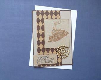 Steam Train Birthday Card  FREE SHIPPING