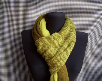 big long thin soft mustard and yellow gradient knit wool blend scarf for men or women