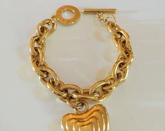Escada chain charm Escada heart charm bangle bracelet