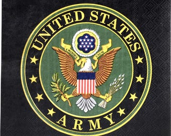 US Army Luncheon Napkins/US Army Party Napkins/USA Army Party Supplies