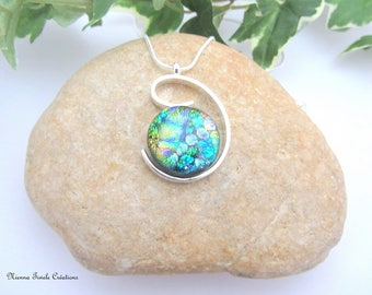 Dichroic glass necklace, sterling silver necklace,dichroic glass jewelry, green necklace,unique necklace,french jewelry,glass necklace