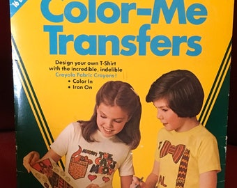 Crayola  Color Me Transfers Design Your Own T-Shirt Fabric Crayons Color In Iron On Pockets & Patches Father's Day Gift