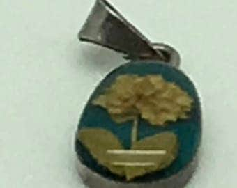Taxco  Sterling Silver Lucite Dried Flower Turquoise Yellow Pendant For Necklace Or Larger Charm