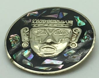 Alpaca Silver Pendant Brooch Convertible Aztec Mayan Warrior Mask  Repousse Raised Black Onyx Abalone Shell Inlay