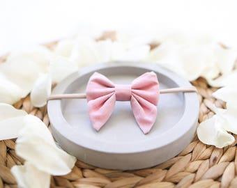 MINI sailor bow clip or headband / fabric bow / hair bow / hair clip