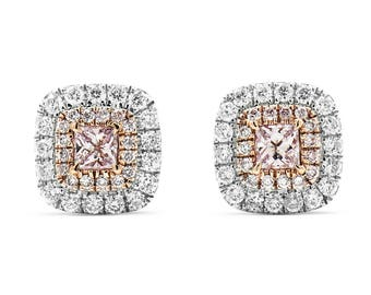 Pink Diamond Double Halo 18K White Gold Screw Back Earrings/ Natural Diamond Stud Earrings/ Custom Gold Jewelry Anniversary Gift for Her
