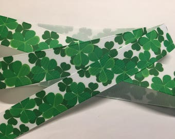 "Irish Shamrock 7/8"" Grosgrain Ribbon"