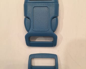 "Blue 1"" Curved Side Release Buckles and Slides"