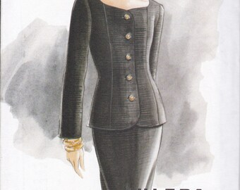 Free Us Ship Sewing Pattern Vogue 9377 Vintage 90's Ultra EZ Suit Top Princess Seams Skirt Size 6 8 10 Bust 30.5 31.5 32.5 New Uncut