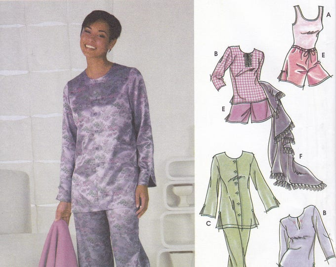 FREE US SHIP Simplicity 5325 Sewing Pattern Pj's Pajamas Short long Pants Blanket Loungewear Uncut Size 6 8 10 12 Bust 30 31 32 34