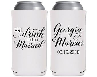 8.3oz Slim Can Coolers Beverage Insulators Personalized Wedding Favors | Eat Drink Be Married (7A) | Red Bull/Mich Ultra | READ DESCRIPTION