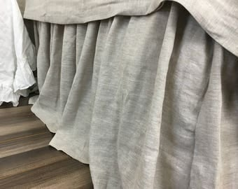 Linen Bed Skirt in Medium Weight Linen Undyed, linen dust ruffle,  shabby chic bedding, Queen, King, Twin, California King