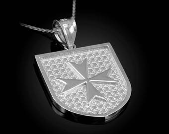 Solid Sterling Silver Maltese Cross Badge Pendant Necklace