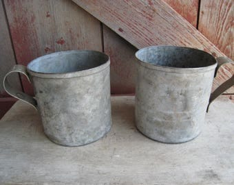 Pair of Galvanized Metal Mugs Cups With Handles Garden Container Rustic Farmhouse Decor