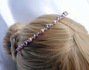 Pink pearl Tiara Bridesmaid hairband, Pink diamante wedding headband, Pink bridesmaid Hair Piece, bridesmaid headpiece, Pink hair accessory