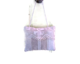 Lavender sachet, ticking and ecru white lace