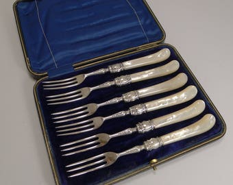 Antique English Sterling Silver & Mother of Pearl Cake or Desert Forks - 1900