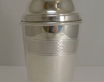 Vintage Art Deco Silver Plated Cocktail Shaker - Engine Turned Decoration c.1930